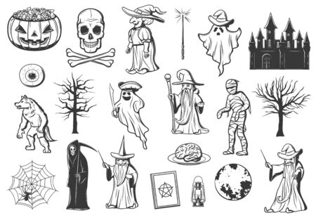 Halloween monster sketches with vector pumpkin, trick or treat candies and ghost. Witch, skull and mummy, death skeleton, spider net and zombie brain, eyeball, evil wizard, werewolf and haunted house