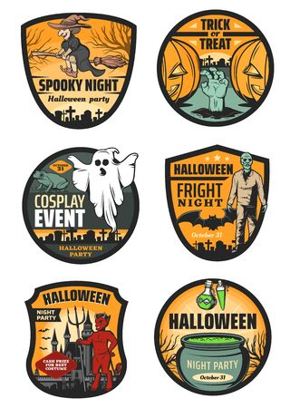 Halloween monster badges of horror night party vector design. Spooky ghost, pumpkin and witch with broom, bat, zombie and devil demon, potion cauldron, graveyard, haunted house and gravestone icons Иллюстрация