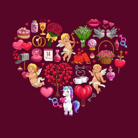 バレンタインデーの贈り物、花束とキューピッド、ベクトルグリーティングカードで作られたハート。ロマンチックな愛の封筒、結婚指輪とチョコ