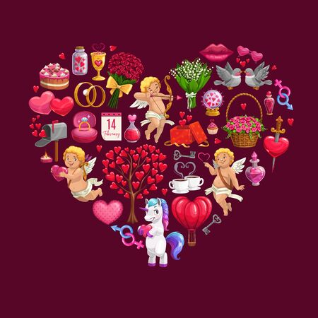 Heart made of Valentines Day gifts, flower bouquets and Cupids, vector greeting card. Romantic love envelope, wedding ring and chocolate, calendar, red roses and ribbons, candies, lips and candles Illustration