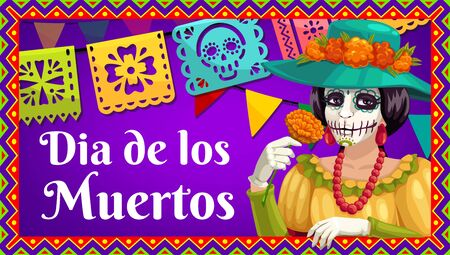 Day of the Dead Catrina Calavera with marigold flower, Dia de los Muertos paper flag garland and bunting with skull and floral cutting. Vector greeting banner in frame of hispanic geometric ornaments Standard-Bild - 132090395