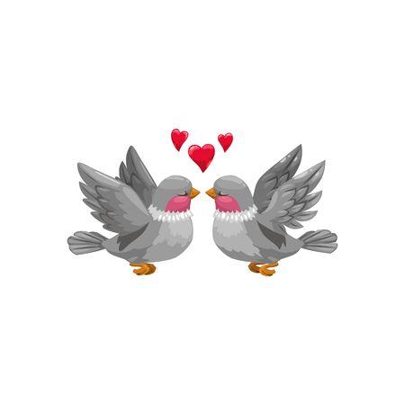 Coppia di uccelli con colli rossi isolati. Animali volanti vettoriali innamorati, cuori sopra la testa