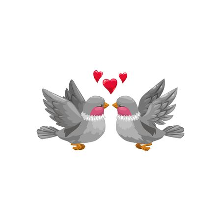 Couple of birds with red necks isolated. Vector flying animals in love, hearts over heads