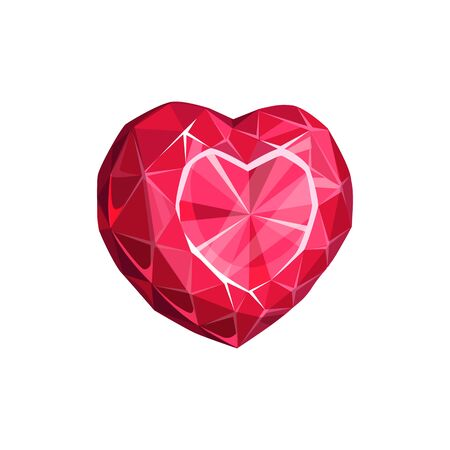 Red gem in shape of heart isolated precious stone. Vector ruby gemstone, diamond jewelry Vettoriali