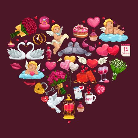Valentines Day love heart with vector gifts of romantic couple. Chocolate, Cupids and bouquets, wedding rings, february calendar and message, rose flowers with red ribbons and kiss lips, candy, wine