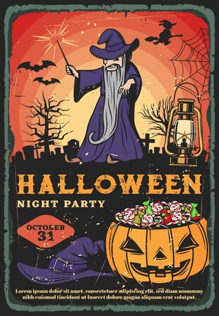Halloween night party pumpkin full of trick or treat candies. Vector graveyard with evil wizard, witch, black magic wand and bats, spider net, gravestones and creepy trees retro invitation design Ilustracja