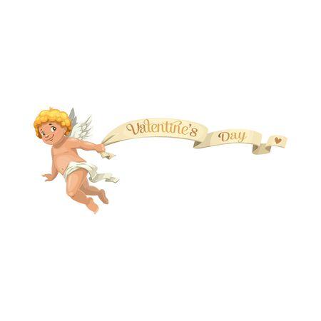 Cupido biondo con bandiera volante di San Valentino, carattere isolato. Amur alato vettoriale in pannolino