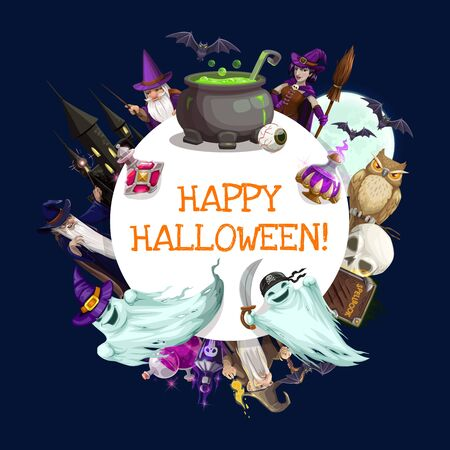 Halloween witch, horror ghosts, bats and moon vector frame. Evil wizard and magicians with skeleton skull and owl, potion bottles, cauldron and black magic spellbook, broom, wand and haunted house Ilustracja