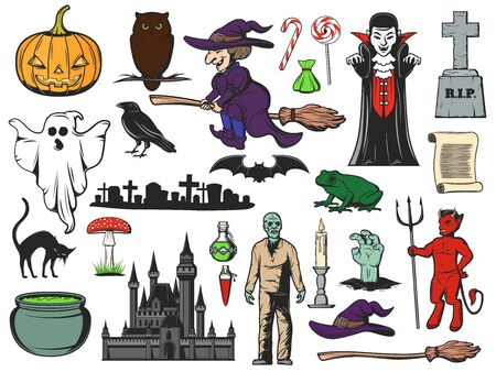 Halloween pumpkin, ghost and bat, witch, owl and zombie icons. Vector trick or treat candies, Dracula vampire and devil, potion cauldron, black cat and graveyard, witch hat, broom and gravestone