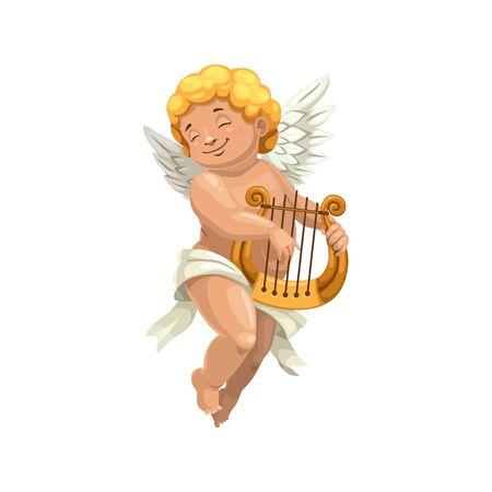 Amur che gioca sul carattere isolato dell'arpa Ragazzo nudo in pannolino, vettore Cupido con strumento musicale Vettoriali