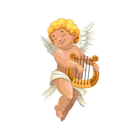 Amur playing on harp isolated character. Naked boy in diaper, vector Cupid with musical instrument Banque d'images - 132118743
