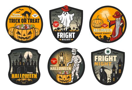 Halloween horror night badges with vector pumpkins, ghost and bats, moon, spider net and witch black cat, mummy, death skeleton and evil wizard, spooky haunted house and graveyard with gravestones