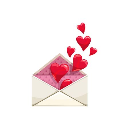 Open envelope full of hearts isolated Valentines day message. Vector letter, love correspondence symbol
