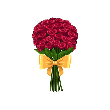 Bouquet of roses isolated red blooming flowers. Vector luxury bunch, gift on Valentines day Illustration