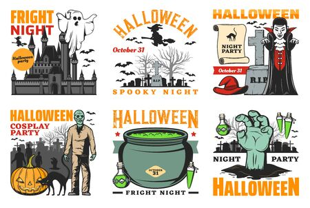 Halloween party vector design with horror night monster icons. Ghost, witch and pumpkin, bats, Dracula vampire and zombie, potion cauldron, haunted house and cemetery gravestone emblems Stock Illustratie
