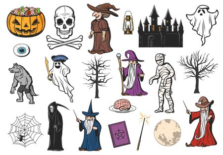 Halloween horror night pumpkin, ghost and witch icons. Vector skull, trick or treat candy and mummy, moon, spider and net, death skeleton, wizard and werewolf, haunted house, zombie eyeball and brain Фото со стока - 132118742