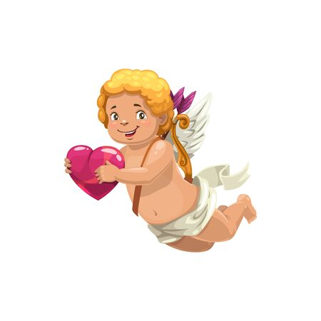 Romantic amur with bows and arrows on back isolated. Vector Cupid holds heart in hands