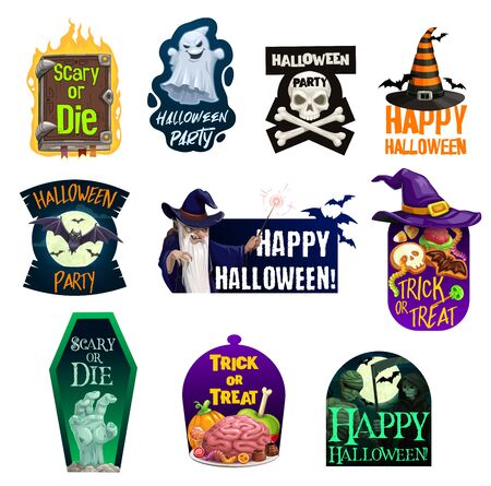 Halloween vector icons of ghost, bats and witch hat with trick or treat candies, skull, bones and zombie hand, mummy, death skeleton and evil wizard, spellbook and coffin. Horror night party design Ilustração