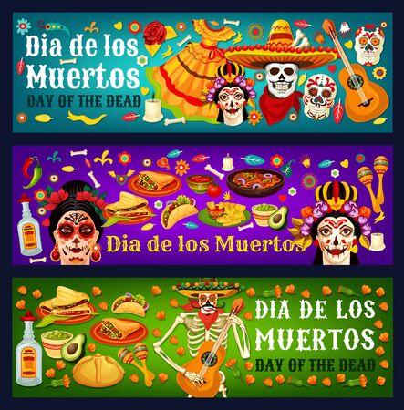 Dia de los Muertos sugar skulls, Catrina and marigold flowers, Mexican Day of the Dead vector design. Mariachi skeleton with sombreros, guitars and maracas, tequila, bread, flamenco dress and bones