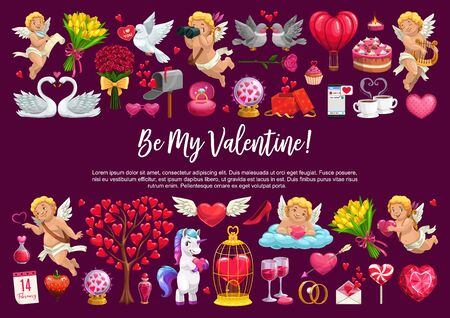 Valentine Day love holiday, cupid angles with hearts, flowers and balloons. Vector Be my Valentine quote calligraphy, roses flowers, love potion and wedding diamond ring, marriage gifts and cake Illustration
