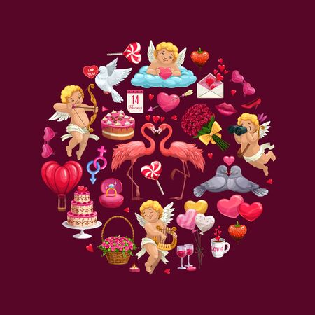 Valentines Day romantic love hearts, Cupids and gifts round icon. Vector wedding ring, chocolate and flower bouquets, letter envelope, candies and february calendar, lips, wine and cake, greeting card