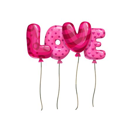 Pink word love of balloons isolated. Lettering inflatable helium letters hearted and dotted inflated objects Illustration
