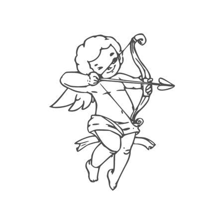 Il ragazzo angelo ha isolato Cupido o Amur con la vittima di ferite di arco e freccia, vettore di contorno
