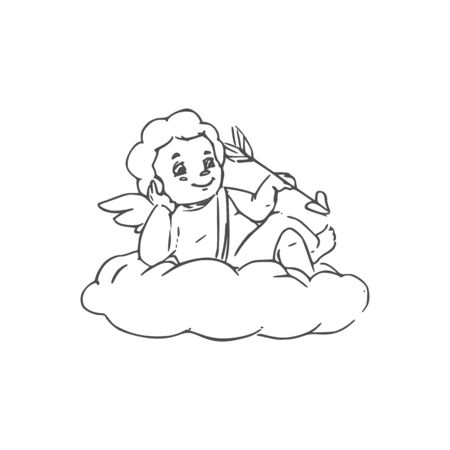 Cupid lying on cloud, isolated God of love. Vector Amur with arrow, outline winged boy