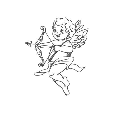 Cupidon avec flèche et arc isolé garçon ailé en couche. Contour de vecteur Amour, vue latérale