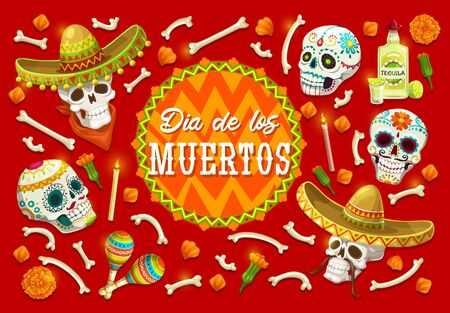 Day of the Dead sugar skulls vector design of Mexican Dia de los Muertos. Skulls and bones of skeleton with marigold flowers, musical festival sombrero and maracas, tequila, mustaches and candles Standard-Bild - 132118754