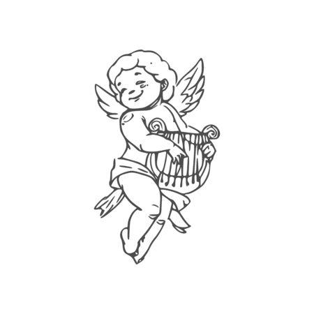 Garçon nu en couche jouant sur la harpe Cupidon isolé. Contour vectoriel Amour ailé avec instrument de musique Vecteurs