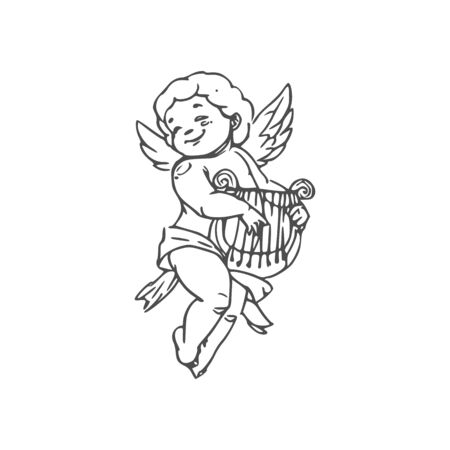 Naked boy in diaper playing on harp isolated Cupid. Vector outline winged Amur with musical instrument Illusztráció