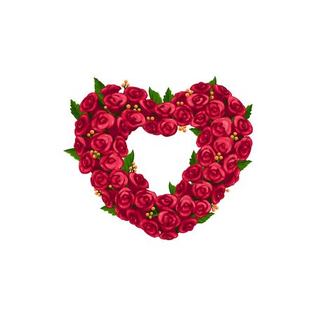 Heart shape wreath isolated rose buds and leaves. Vector frame of rose flowers