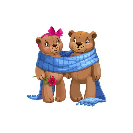 Couple of bears in warm blanket isolated animals. Vector male and female plush toys Фото со стока - 133938581
