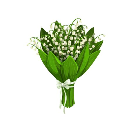 Bouquet of lilies of the valley isolated spring flowers. Vector bunch of spring-flowering plants Çizim