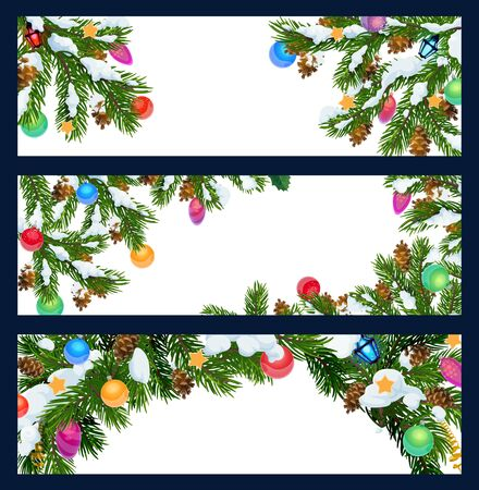 Winter holiday greeting blank banners with Xmas tree decorations. Merry Christmas and Happy New year vector pine or fir tree branches with Christmas lights and golden stars ornaments in snow  イラスト・ベクター素材