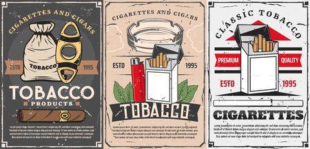 Magasin de tabac vectoriel, coupe-cigares, briquets et boîte d'allumettes avec cendrier à cigarettes et feuille de tabac. Cigares, cigarettes et affiches rétro vintage de magasin de tabac de qualité supérieure