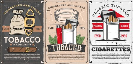Vector smoking shop, cigar cutters, lighters and matches box with cigarette ashtray and tobacco leaf. Cigars, cigarettes and premium quality tobacco store vintage retro posters