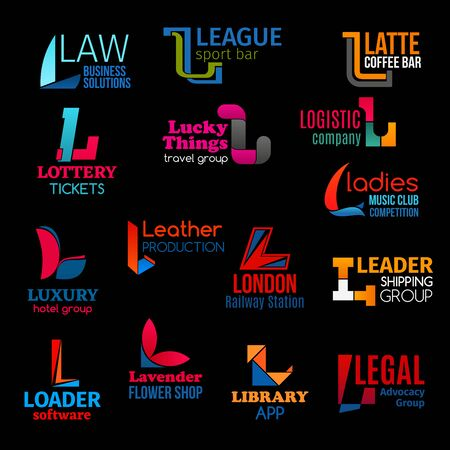 L letter icons of law legal business, sport league coffee bar and logistics company. Vector identity L signs of music club, flower shop or software electronic store and advocacy group Ilustração