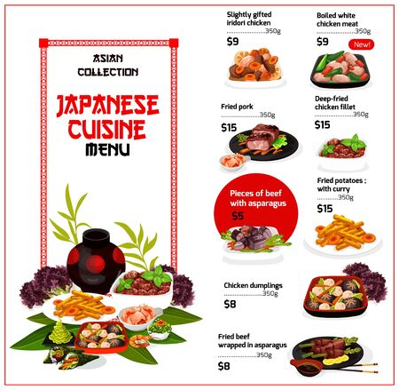 Japanese cuisine restaurant menu, traditional food dishes. Vector menu of iridori chicken, fried pork filet and potatoes with curry, beef meat wrapped in asparagus