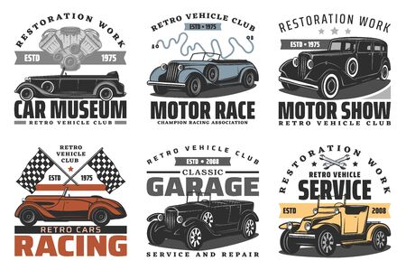 Retro vehicle club, vintage old car race and motor show or rarity car museum icons. Vector car service repair center and restoration garage station, champion racing association signs  イラスト・ベクター素材