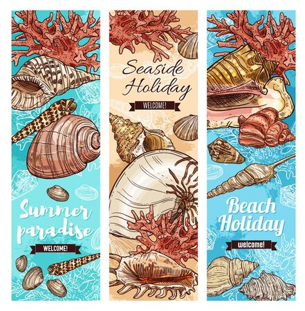 Welcome to paradise, summer seaside holiday sketch banners. Vector holiday travel quotes banners, sea and ocean shells, underwater corals, summer beach vacations journey adventure and seaside resort