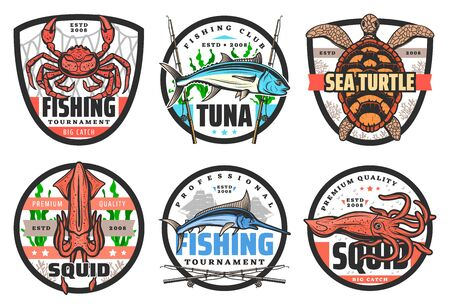 Fishing club, big fish and catch tournament icons or labels. Vector fisher equipment tackles, rods and lures for sea crab, ocean tuna and turtle, fishing sport tournament and fisherman hobby