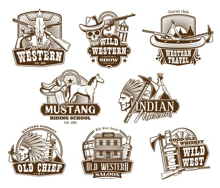 American Western icons, wild West show and rodeo riding school symbols. Vector Indigenous museum, Western travel club, whiskey bar saloon with longhorn and skeleton skull in cowboy hat