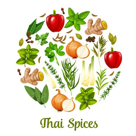 Thai spices and herbal cooking ingredients, herbs and seasonings. Vector paprika or bell pepper, lemongrass and spicy ginger, onion with rosemary, sage and bay leaf, cloves and cardamom spice
