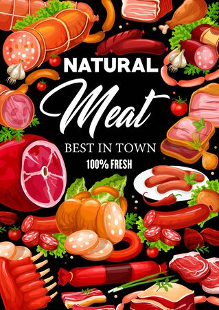 Meat and sausages, butchery shop and farmer market gourmet food products. Vector butcher pork and salami or pepperoni sausages, lamb and beef steak or ham and bacon, filet and mutton ribs 일러스트