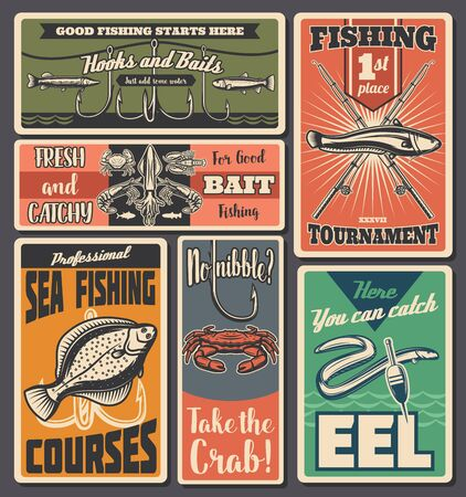 Fisher equipment tackles, rods and floats and lures shop, sea salmon and lake eel fishing sport tournament and fisherman hobby. Fishing sport, big fish catch retro vector posters