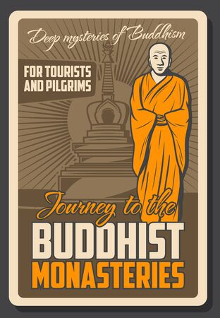 Vector vintage retro poster of Buddhist monk and Buddha temple shrine, meditation school and Dharma spiritual tranquility. Buddhism religious trips for tourists and Buddhist pilgrims 向量圖像