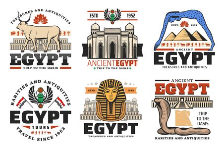 Egypt and Cairo travel tours to ancient landmarks and sightseeing. Vector trips to Egyptian pharaoh pyramids, sphinx and mummy, Egypt treasure antiquity and rarity shop signs 스톡 콘텐츠 - 132617400
