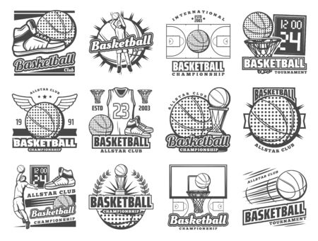 Vector basketball sport and streetball game tournament symbols of champion cup game, ball with wings and goal scoreboard. Basketball championship, club and team league badges Illustration